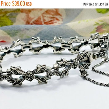 Vintage Marcasites Sterling Silver Chain Link Bracelet Heavy Duty Clasp Solid Silver Construction Gives This Bracelet a Solid Sense of Style