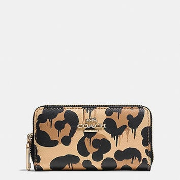 Small Double Zip Coin Case in Wild Beast Print Leather