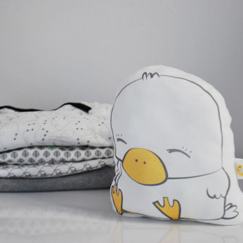 Organic cotton Duck plush pillow eco-friendly ink animal stuffed /  baby gift