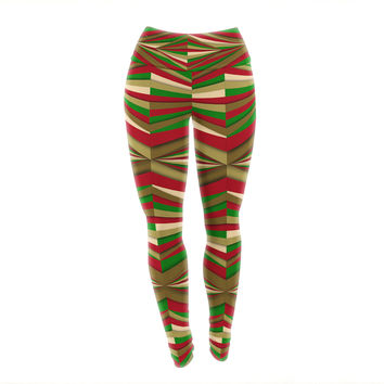 "Danny Ivan ""Christmas Pattern"" Red Green Yoga Leggings"