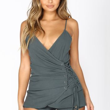 Pretty Baby Lace Up Romper - Teal