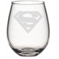Superman Wine Glass, Etched Wine Glass, Superman