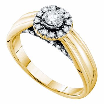 14kt Yellow Gold Womens Round Diamond Solitaire Halo Bridal Wedding Engagement Ring 1/3 Cttw