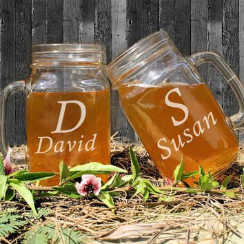 Personalized Vintage Mason Jar Glass Jars Custom Name Rmantic Glass Drinking Bottle for Couples Water/Juice/Beverage Container