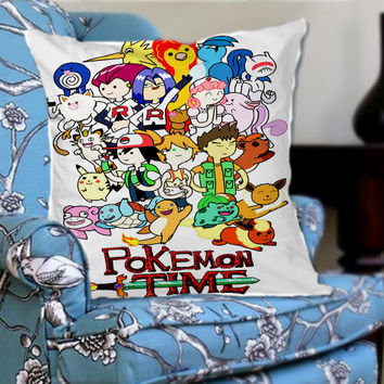Adventure Time Pokemon on Decorative Pillow Cover by NaystaCover