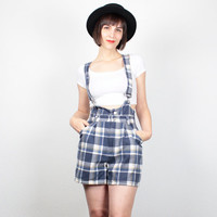 Vintage 90s Jumper Blue Green Plaid Flannel Overall Shorts 1990s Soft Grunge Suspenders Jumper High Waisted Shorts Playsuit Overalls S Small