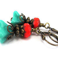 Boho Turquoise Flower Earrings - Czech Glass Beads - Antiqued Bronze Flower Earrings - Bohemian Red and Turquoise Earrings