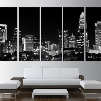 Charlotte Downtown canvas wall art,  extra large wall art, Charlotte skyline canvas print wall art, city skyline moder wall decor t173