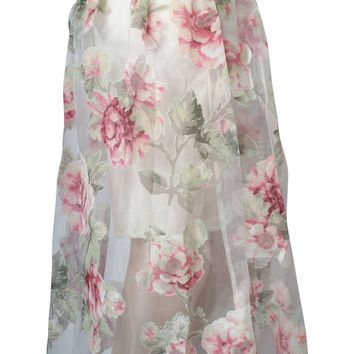 Casual Floral Print Chiffon Sheer Banded Waist Mid Calf Length Pleated Skirt
