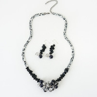 Gemstone Statement Necklace & Earrings Set, Blue Sandstone and Clear Quartz Crystal Beads, High Fashion Costume Jewelry