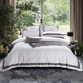 Cool TUTUBIRD-Luxury Satin Egyptian Cotton Bedding Set Solid Color Striped Plaid Duvet Cover+Flat Sheet+2 Pillowcases King Queen SizeAT_93_12