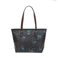 COACH CITY ZIP TOTE WITH BIRD PRINT, F22293, BLACK MULTI