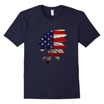 Native American Indian USA Flag T-Shirt