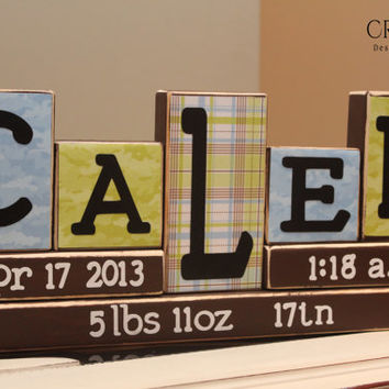 Personalized Baby Blocks (5 Letters Name) Birth Stats/Announcement