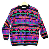Vintage 80s DayGlo Tribal Aztec Tacky Ugly Ski / Cosby Sweater