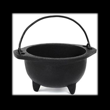 "Cast Iron Cauldron 6"" with Handle"