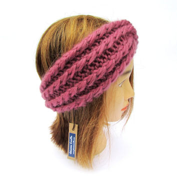 Twisted headband - old pink knit headband - knitted antique pink twisted headband - chunky knit hair accessory turban - girls knit hairband