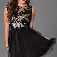 Short Sleeveless Dress 586B971 with Lace Embellished Bodice by Bee Darlin