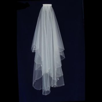 Beaded Bridal Wedding Veil Hand Sew Crystal Edge with Comb