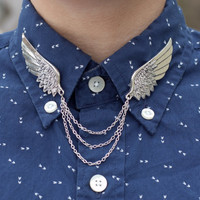 Large Silver Bird Wing Collar Clip Collar Chain