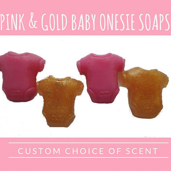 Pink & Gold Baby Shower Favors - Baby Onesuit Soaps for Baby Shower or Baby Sprinkle, CHOICE of Scent It's a Girl - Pack of 30