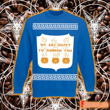 Happy To Summon You NYC Greek Coffee Cup Conjuring Sweatshirt // Cauldron // Pentagram // fASHLIN