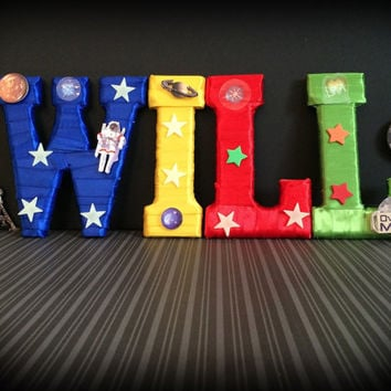Outerspace Theme Nursery or Boys Room Decor Custom Made Letters by Tightly Wound Designs
