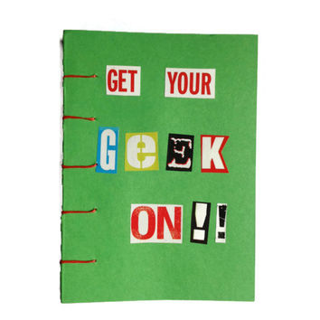 Get Your Geek ON coptic stitched journal GREEN unique Retro book for Sci-fi Geek Chic fan