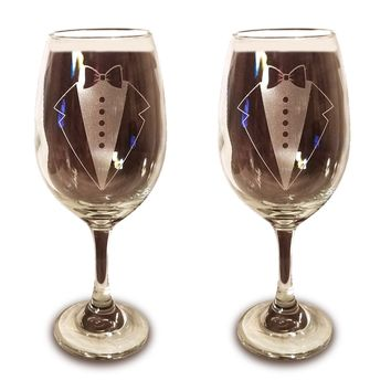 Laser Engraved LGBTQ Groom and Groom Glasses - 20 oz Wine Glasses - Wedding Toasting Set of 2 - Couples Gifts - Engagement Gift - Original Wedding Gifts - Custom Wedding