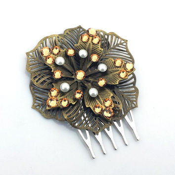 Antique Bronze Hair Comb, Vintage Style Bridal Hairpiece, Swarovski Golden Shadow Crystal Flower Comb, Pearl Hairpiece