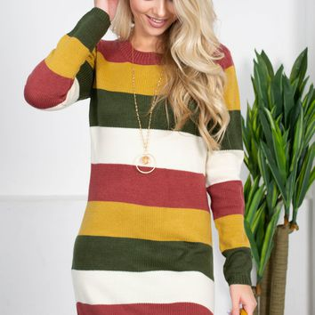 Vermont Warm Striped Sweater Dress