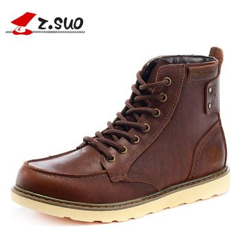 Autumn Tooling Boots Fashion Rivets Genuine Leather Men's Working Boots Western Cowboy Boots