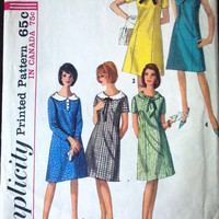 Simplicity 5924 Pattern for Junior & Misses Dress, Size 11, From 1965, Classy Dress with 5 Neck Lines