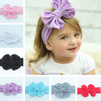 Bow: 12 * 11cm, Belt Width 7cmCharming Baby Hair Accessories Children Cotton Bow Hair Band Sweet Head Band 9 Colors BB-2667