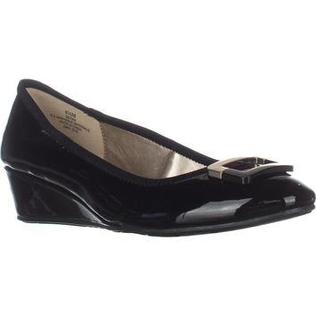 Bandolino Tad Wedge Pumps, Black/Black, 6.5 US