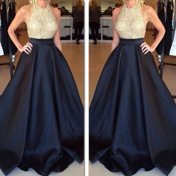 High Neck Gold Beading Prom Dresses