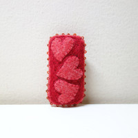 Red Felt Heart Brooch. Triple Heart Hand Embroidery and Red Beadwork. Eco Friendly. Mother's Day Gift.