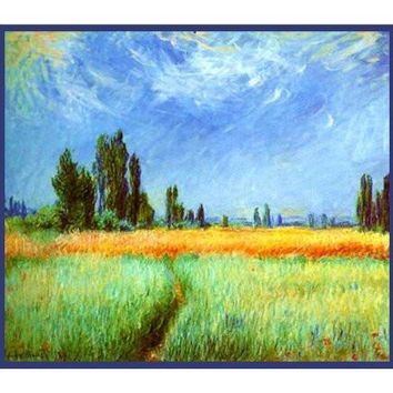 Path Through a Corn Field inspired by Claude Monet's impressionist painting Counted Cross Stitch or Counted Needlepoint Pattern