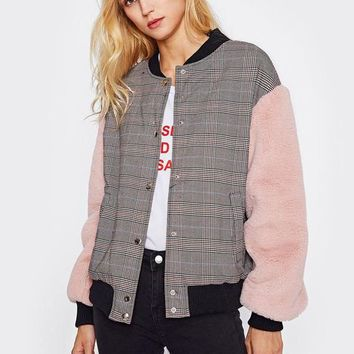 Fuzzy Sleeve Plaid Jacket