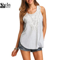 SheIn Korean Fashion Summer 2016 New Arrival Cute Tops Ladies Grey Round Neck Lace Side Split High Low Loose Tank