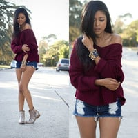 V-neck Solid Loose Pullover Short Sweater