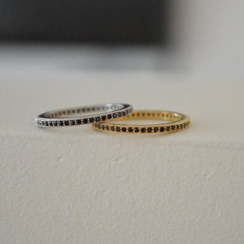 Black Layered Gold Ring - Sterling Silver Ring - Sterling Silver Stacked Ring - Blakc Micro Pave Ring