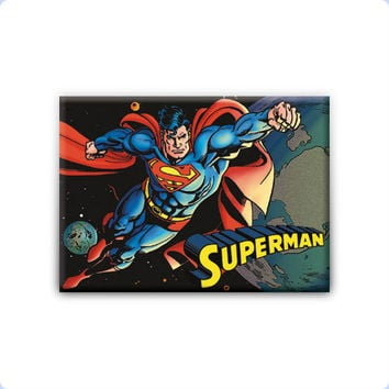 Superman Flying In Space Refrigerator Magnet