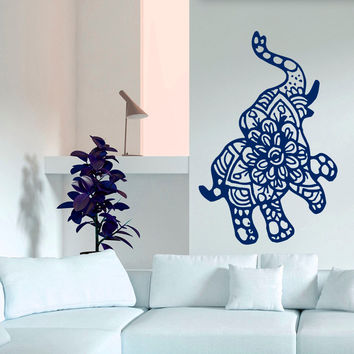 Indian Elephant Mandala Buddha Wall Sticker Home Decor Bohemian Bedroom Living Wall Decal Removable Art Vinyl Mural