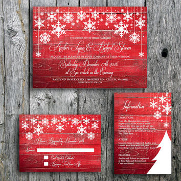 Winter Wedding Invitation Suite with Snowflakes on Red Barn Wood - Printable Wedding Invitation, RSVP and Guest Information Card