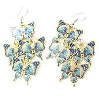 Pretty Butterfly Shaped Layered Dangle Drop Earrings in Blue on Gold   DOTOLY