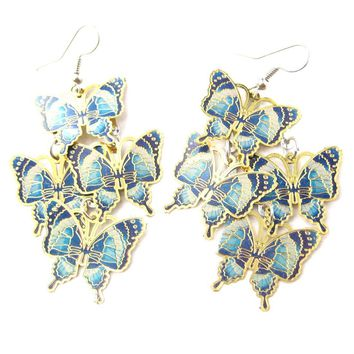 Pretty Butterfly Shaped Layered Dangle Drop Earrings in Blue on Gold | DOTOLY