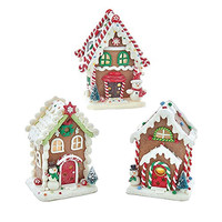 Gingerbread LED House Christmas Ornaments, Brown, 5-Inch, 3-Piece