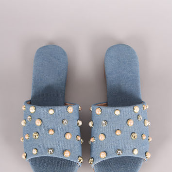 Denim Pearl Embellished Band Open Toe Slip-On Flat Sandal | UrbanOG