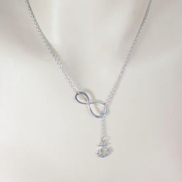 Infinity Necklace. Silver Anchor Lariat Necklace.  Y Necklace, Nautical Jewelry. Bridesmaid Jewelry, Bridesmaid Gift. Beach Wedding. BFF